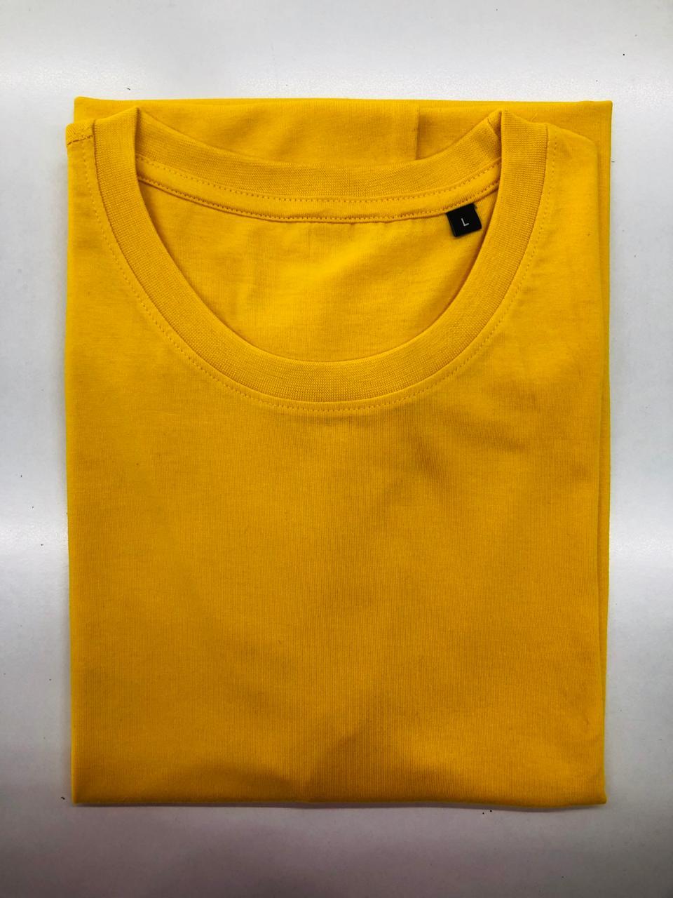 Golden yellow plain solid T shirt