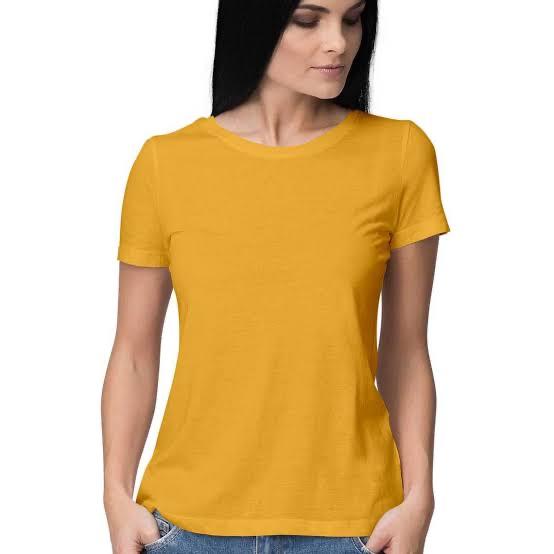 Golden Yellow Plain Solid T Shirt For Women Basic Tees