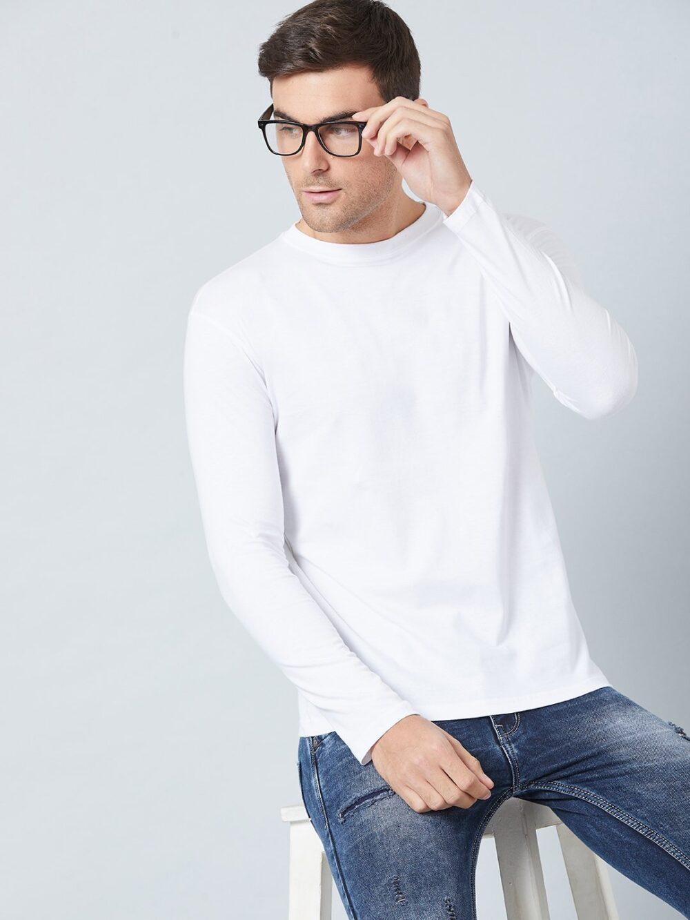 White plain full sleeve fealty T shirt