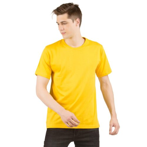 Golden Yellow Solid Plain T shirt Men