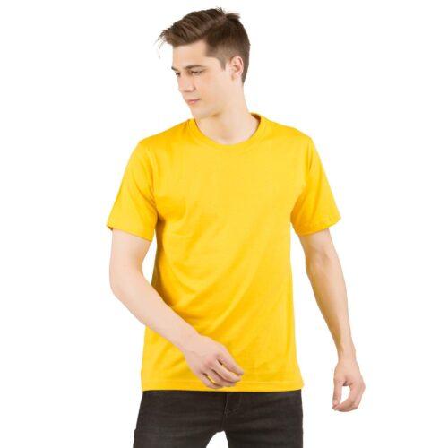 Golden Yellow Solid Plain T shirt Men