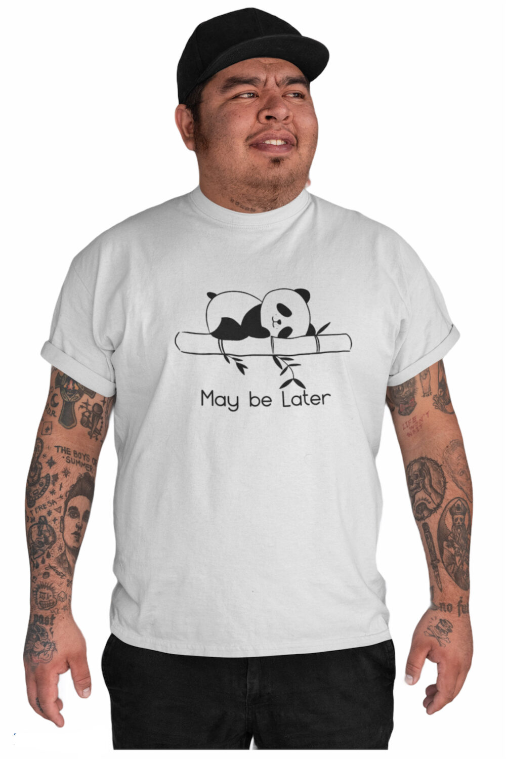 Maybe Later Half Sleeve Online Graphic White T shirt