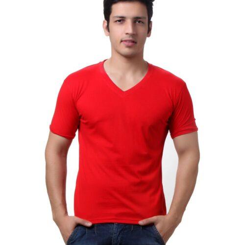 Red-Cotton-V-neck T shirt