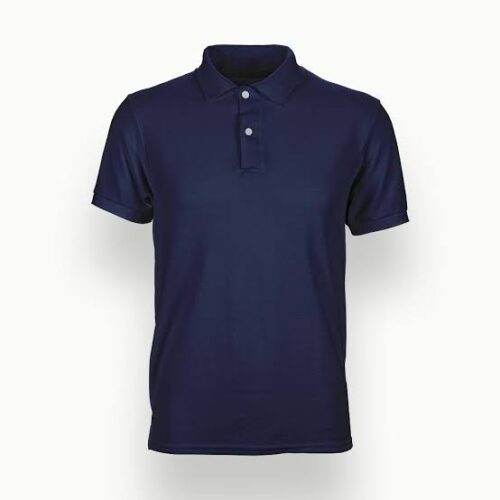 Solid Navy Blue Plain Polo T-Shirt For Men