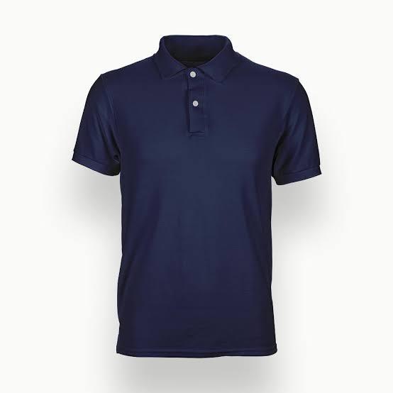 Solid Navy Blue Plain Polo T-Shirt For Men
